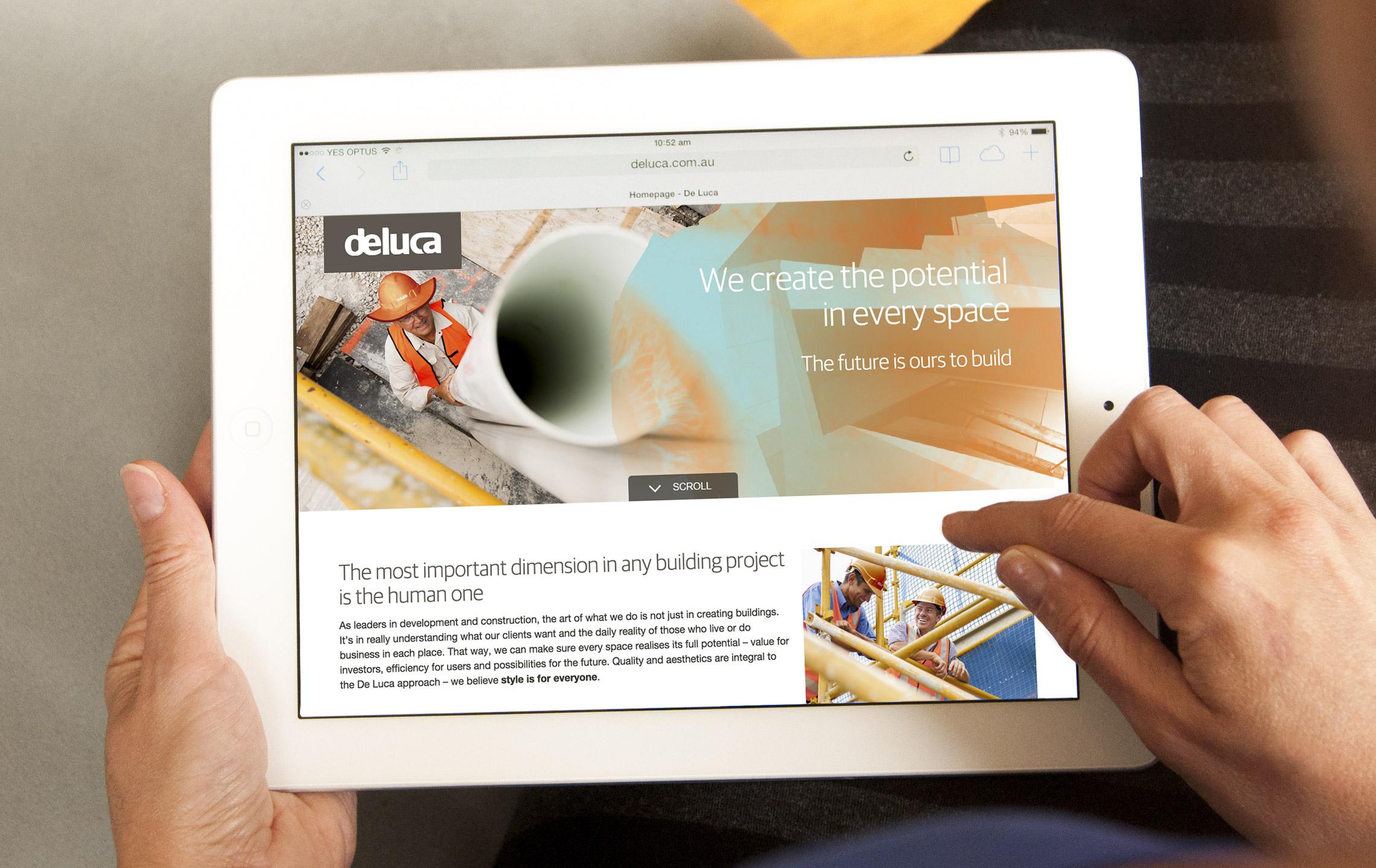 De Luca website on iPad