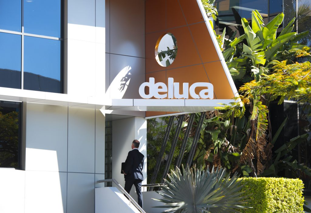 De Luca office entrance sign