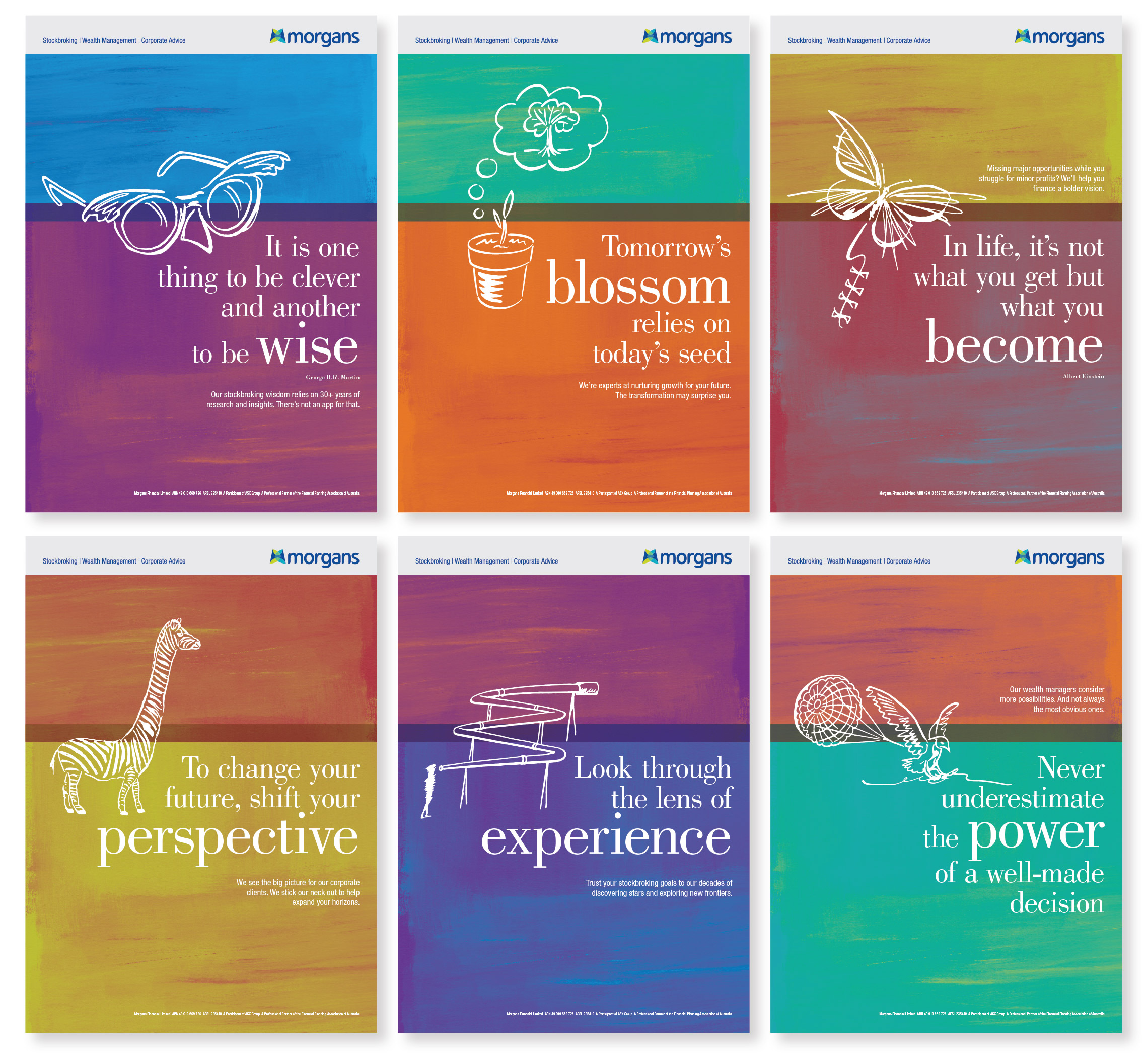 Morgans messaging brochure covers and posters