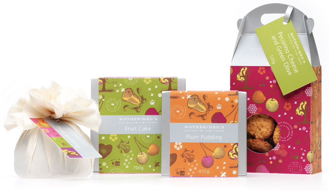 Mother Meg's festive packs with bells and cherries