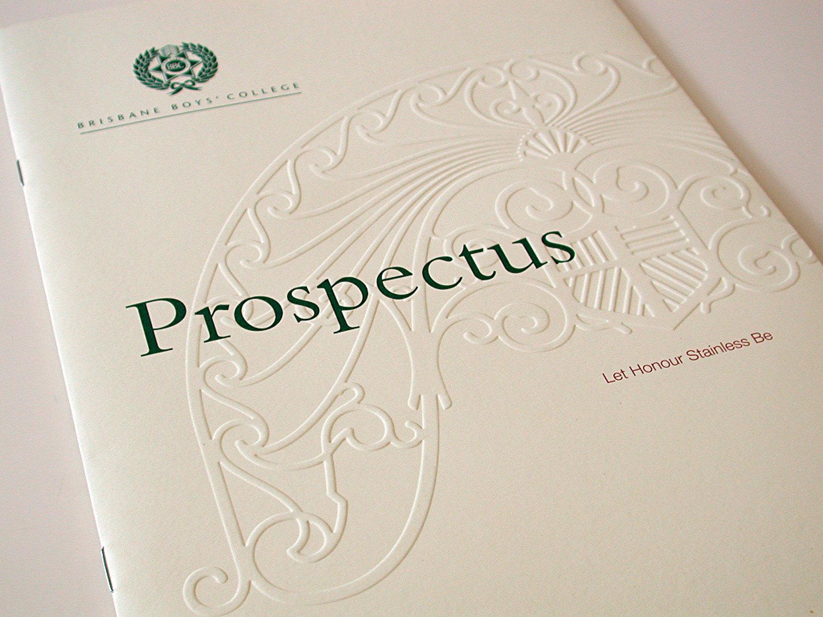 BBC Prospectus cover showing embossing