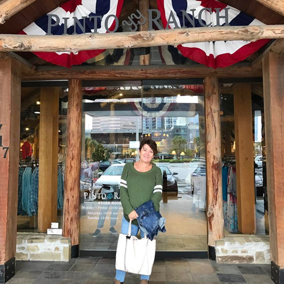 Corinne outside Pinto Ranch store in Houston, Texas