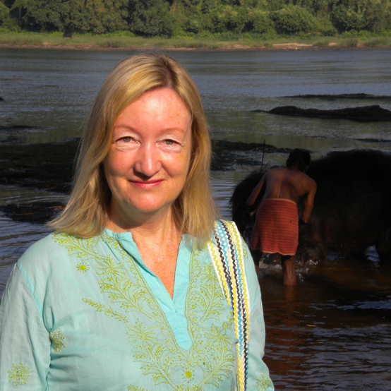 Julia with Indian elephant behind