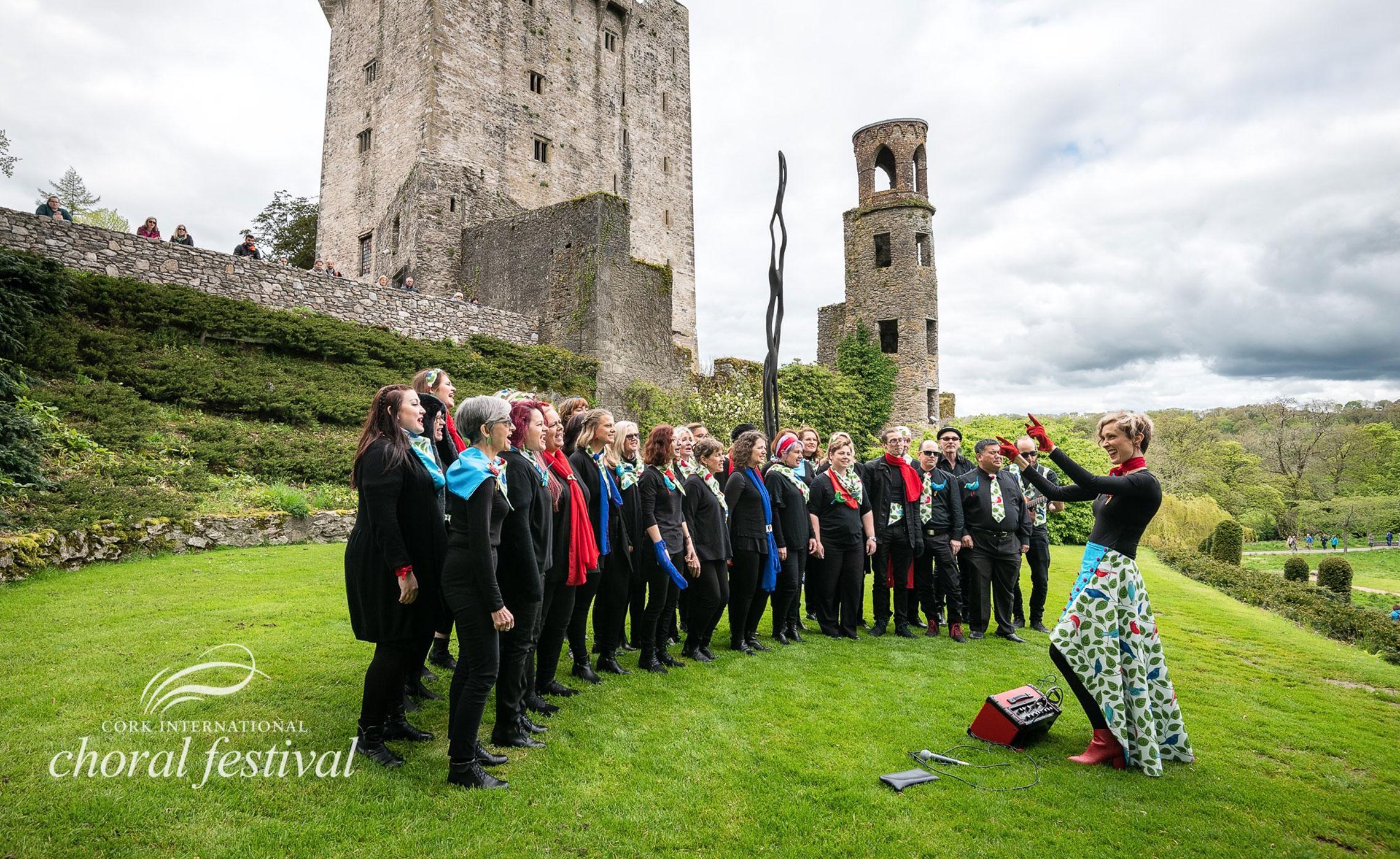 Nicki singing in Cheep Trill Choir at Blarney Castle in Ireland