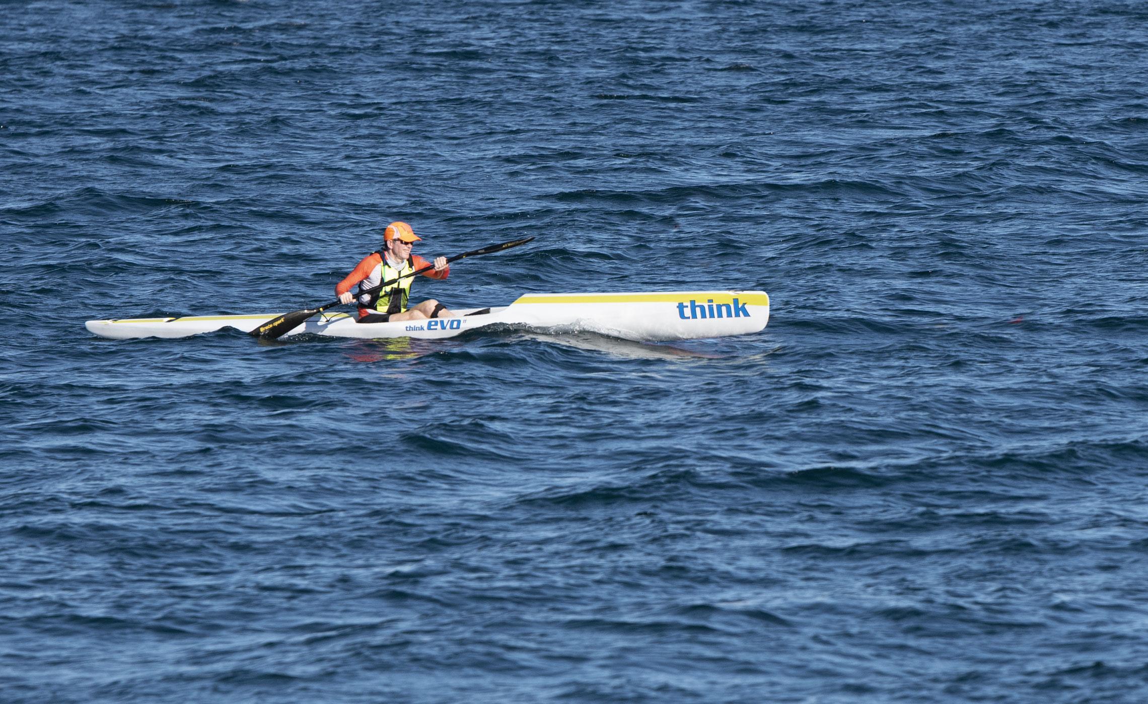 Tim Grey paddling an ocean ski on Moreton Bay